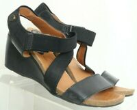 Bussola Black Leather Wedge Heel Z-Strap Sandals Women's US 8.5 EUR 39