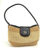 Vintage Brighton Weave Woven Basket Straw Leather Small Purse Shoulder Bag