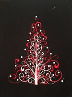 EMBROIDERED  CHRISTMAS TREE  - QUILT BLOCK-