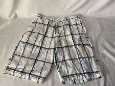 Burnside Men's Flat Front Shorts Bermuda Casual Plaid White/Blue Size 34