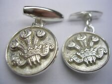 New 925 Sterling Silver Men's ROYAL REGIMENT OF WALES Feathers Cufflinks