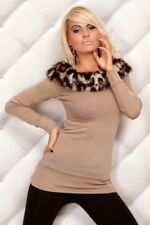 Faux Fur Trim Top / Long Sleeve Tops __ Sizes:  XS,S,M _ ITALY