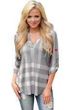 New Ladies Grey Plaid 3/4 Roll-tab Sleeves Top Size UK 8-10