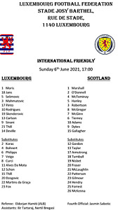 Luxembourg v Scotland 6/6/2021, Friendly, Unofficial Pirate Issue Team Sheet