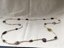 Lange Kette aus Achaten und Süßwasserzuchtperlen, Länge:144 cm