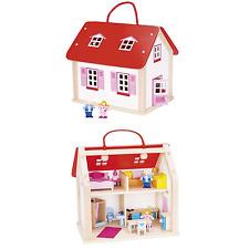 Goki Valigia casa di bambole in legno con accessori 24 PEZZI e maniglia per il trasporto