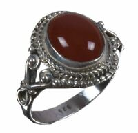 925 Solid Sterling Silver Ring Natural Carnelian Gemstone US Size 4 5 6 7 R951