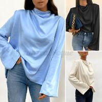 ZANZEA Womens Blouse Silky Satin Casaul Loose Tops Full Sleeve Shirt Formal Plus