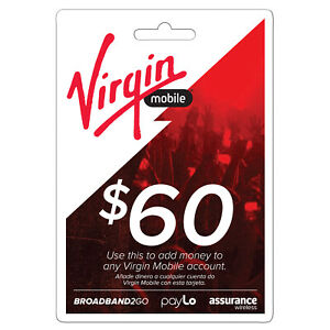 VIRGIN MOBILE,  $60 Prepaid Phone Card Refilled directly to your mobile number