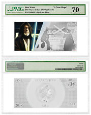 2018 Star Wars New Hope Obi-Wan Kenobi Foil Note 5 g Silver PMG GEM 70
