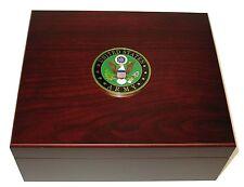 US Army USA Large Logo 50 Cigar Humidor Cherry Hygrometer Humidifier Cedar
