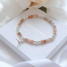 Sunstone Sterling Silver Hummingbird Beaded Bracelet Crystal Stacking Jewellery