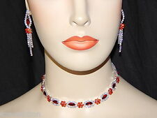 Silver W. Red Ruby Rhinestone Flower Choker Prom Necklace, Earrings Set