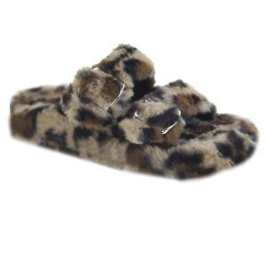 New Women's Buckle Double Strap Sherpa Teddy Faux Fur Flat Plush Sandal Slipper