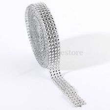 10 Yard 4 Row Diamond Mesh Wrap Roll Sparkle Rhinestone Crystal Ribbon Cake Trim