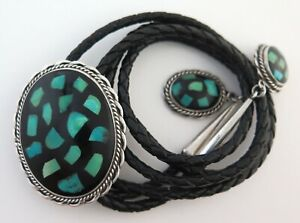 Sterling Silver Bolo Tie with Black & Turquoise Enamel and Custom Dangling Tips