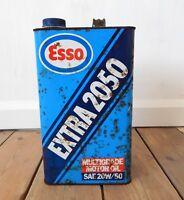 Vintage Esso Multigrade Extra 2050 Motor Oil Can 5 Litre Car Enthusiast