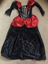 Girls dressing up Halloween dress black and red with skulls age 9-10 from tesco