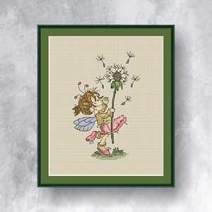 LITTLE FAIRY AND DANDELION - Counted cross stitch kit (with DMC threads)