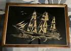 """VTG Pirate Ship Brass Pressed Picture Wall Art Nautical 38-1/4"""" X 26-1/4"""" X 1"""""""