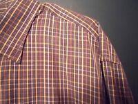 PETER MILLAR Men's Shirt brown plaid sz Large button up front long sleeve