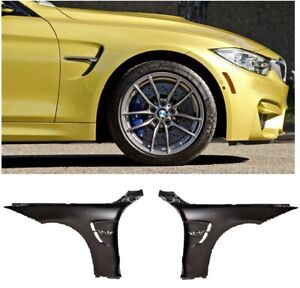 BMW F32 F33 F36 M4 look style front wings pair black left right black side trims
