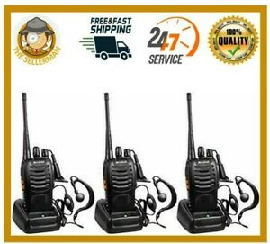 Long Range Walkie Talkies 3 Pack 5 Miles Two Way Radio Charge Headset Waterproof