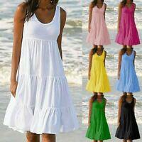 Women's Holiday Summer Solid Sleeveless Party Beach Loose Short Dress Sundress