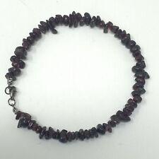 "Handmade Anklet Natural Deep Red Garnet Gemstone Nugget Beads Black Metal 10.25"""