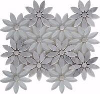 SNOW FLOWER White Glass Carrara Marble Mosaic Tile Flower Shape Tiles Backsplash