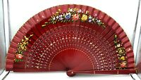 Beautiful vintage hand painted Chinese wood hand fan with pretty flowers design