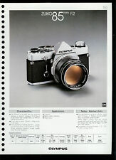 Factory 1978 Olympus Zuiko 85mm F2 Camera Lens Dealer Data Sheet Page