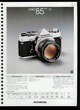 Factory 1978 Olympus Zuiko 85mm F2 Camera Lens Dealer Data Sheet Page