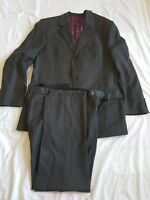 "MENS RACING GREEN CHARCOAL STRIPE SUIT   44"" CHEST    38/32 TROUSERS"
