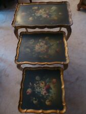 Beautiful Italian Wood Nesting Tables Gold Hand Painted Floral Tops Italy Rare