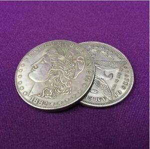 Super Flipper Coin Morgan Dollar Amazing Coin Magic Tricks,Gimmick,Close Up,Fun