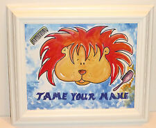 """""""Tame Your Mane"""" 11""""x 12 3/4"""" Framed Bold & Bright Print, By USA Artist's Group"""
