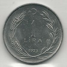 TURKEY,  1973,  1 LIRA, STAINLESS STEEL,  KM#889a.2,  BRILLIANT UNCIRCULATED
