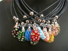 MILLEFIORI Murano Glass 25mm TEAR DROP Droplet Pendant Necklace Jewellery 10