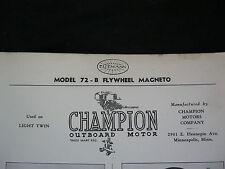 1936 EISEMANN 72-B CHAMPION OUTBOARD FLYWHEEL MAGNETO PARTS LIST & DIAGRAM