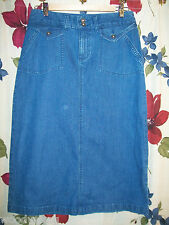 Christopher Banks Denim Skirt Size 4P Slit up back 99% cotton Stretch