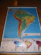 Vintage Nystrom School Pull Down Map of South America - Mid Century