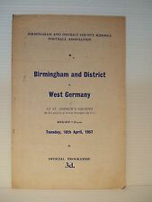 BIRMINGHAM & DISTRICT v WEST GERMANY at St.ANDREW'S B'HAM TUES.16th.APRIL 1957