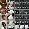 20/40Pcs/set Wedding Bridal Pearl Rose Flower Hair Pins Crystal Rhinestone Clips
