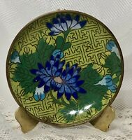 Antique Chinese Cloisonne Floral Small Dish Green Blue Gold Enamel VTG Plate 3+""