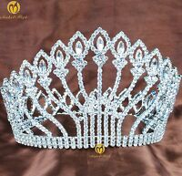 "Flower Full Tiara Crown Austrian Rhinestone 5"" Hair Jewelry Wedding Bridal Prom"