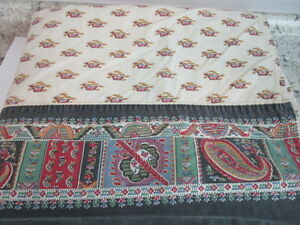 Twin Flat Sheet with Paisley Border - Unbranded