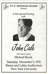 John Cale Live at NYU 1992 Program with Michael Brook & Sterling Morrison
