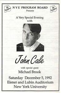 John Cale Live at NYU 1992 Program with Michael Brook & Sterling Morrison