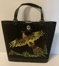 Vintage Beaded Wood Bottom Satchel Purse Tote Bag Bird Peacock  T6